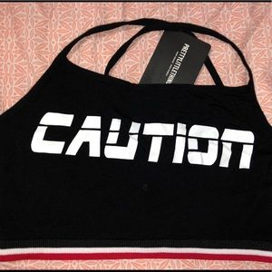 PrettyLittleThing Tops - Caution Crop Top